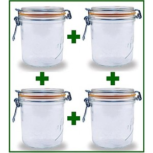 Set of 4 - Le Parfait French Wide Mouth Glass Canning Jars - 26.25 Oz Each by LeParfait