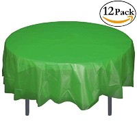 Premium Plastic Tablecloth 84in. Round Table Cover - Emerald Green by Exquisite