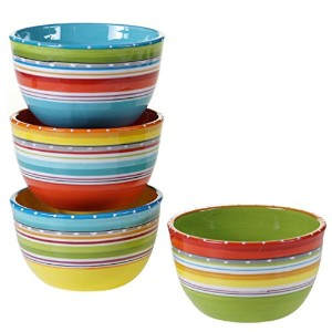 """Certified International byナンシーグリーンMariachi Set of 4Ice Cream Bowls 5.25"""" 78602580018"""