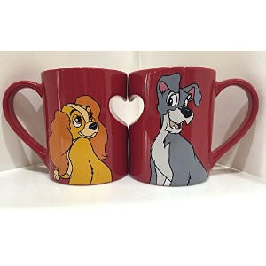 Disney Parks Lady and the Tramp Romantic Heart Ceramic Mug Set of 2 Love by Disney