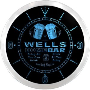 LEDネオンクロック 壁掛け時計 ncp1124-b WELLS Home Bar Beer Pub LED Neon Sign Wall Clock