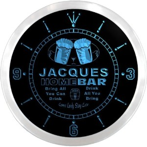 LEDネオンクロック 壁掛け時計 ncp0769-b JACQUES Home Bar Beer Pub LED Neon Sign Wall Clock
