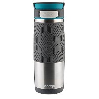 Contigo AUTOSEAL Transit Stainless Steel Travel Mug, 16 oz, Stainless Steel with Blue Accent Lid by...