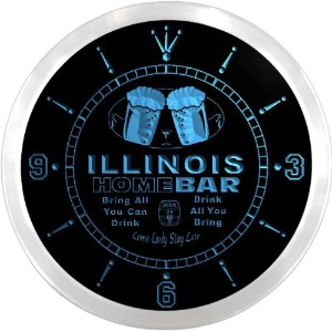 LEDネオンクロック 壁掛け時計 ncp2013-b ILLINOIS Home Bar Beer Pub LED Neon Sign Wall Clock