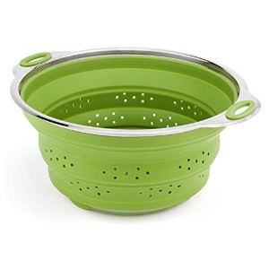 Best Large Collapsible Silicone Colander/Strainer with Stainless Steel Base by Chef FrogTM by Chef...