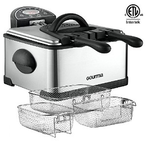 Gourmia GDF-500 Compact Electric Deep Fryer, 3 Baskets with Digital Timer & Thermostat, Stainless...