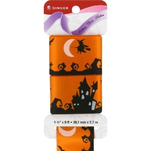 Singer Satin Ribbon, 1-1/2-Inch by 9-Feet, Haunted House Print, Sunkist by Singer