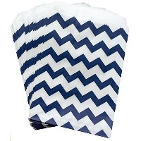 Outside the Box Papers Navy Blue and White Chevron Treat Sacks 5.5 x 7.5 Navy Blue, White by...