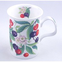 Fine English Bone China Mug - Sweet Cherry Chintz - England by Roy Kirkham China, England