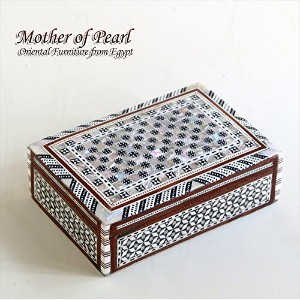 Mother of Pearl エジプト螺鈿のジュエリーボックス・長方形 Middle size12.5x7.5x3 rebox-f08navy