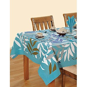 Colorful Multicolor Cotton Spring Floral Tablecloths For Dinning Tables 60 X 84 Inches, Turquoise...