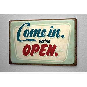Tin Sign ブリキ看板 Sayings OPEN opening times Metal Plate