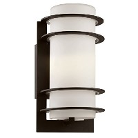 Transglobe Lighting 40204 BK Outdoor Wall Light with White Glass Shade, Black Finished by Transglobe...