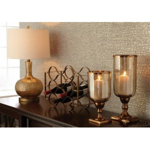 Split P Striae Lamp with Shade, Gold by Split P