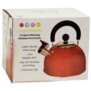 Stainless Steel Whistling Kettle 2.5qt/2.37l Hot Water Tea Stovetop Red by DINY Home & Style