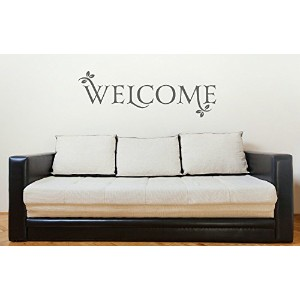 Welcome Quote with Leaves Large Wall Decal for Entryway D?cor 34x11.5 Storm Gray [並行輸入品]