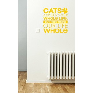 Wall Decor Plus More WDPM3230 Cats Make Life Whole Wall Decal Pet Quote, 22-Inch x 23-Inch, Yellow ...