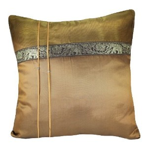 """That's Perfect! Thai Elephant Band 18""""x18"""" Decorative Silk Throw Pillow Sham - COVER (Bronze) by..."""