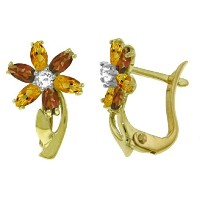K14 Solid Gold Earrings with Diamonds, Citrines and Garnets
