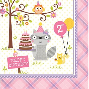 HAPPI WOODLAND GIRL LUNCH NAPKINS 2ND B/DAY 3 PLY 33CM (13)