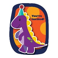 Little Dino Party Invites - Pack of 8