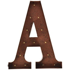 "Gerson会社"" A "" LEDライト付きのメタルLetter with Rustic Brown Finish"