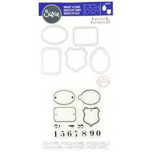 Sizzix Framelits Die Set with Stamps Labels and Numbers by French General by Sizzix
