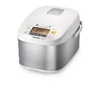 Panasonic 10 Cup (Uncooked) Microcomputer Controlled Rice Cooker, Stainless Steel/White by Panasonic