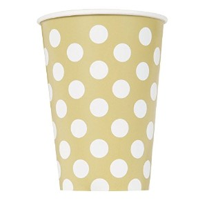 12oz Gold Polka Dot Paper Cups, Pack Of 6
