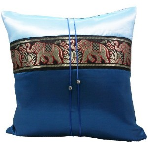 "Phumpanya 16""x16"" Blue Throw Decorative Silk Accent Pillow Cover : Thai Elephants Large Stripe Gift..."