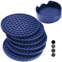 Enkore Drink Coasters Silicone Set of 6 (Navy) with Holder - Good Grip, Deep Tray, Large 4.3 inch...