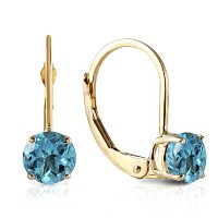 K14 Yellow Gold Leverback Earrings with Blue Topaz