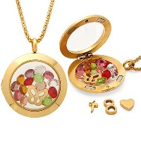 Stunningクリスタルチャームロケットペンダントネックレスwith Interchangeable Charms