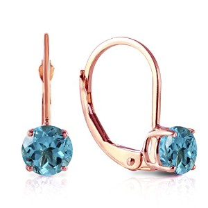 K14 Rose Gold Leverback Earrings with Blue Topaz
