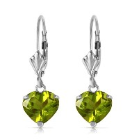 K14 White Gold Leverback Earrings with Natural Peridots