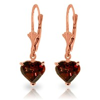 K14 Rose Gold Leverback Earrings with Natural Garnets