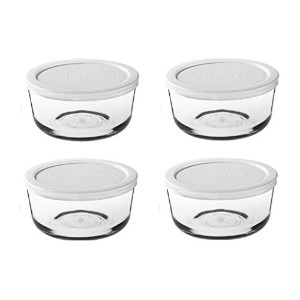 Pyrex storage sets - assorted (4 cup, Box of 4 Containers (White Lid)) by Pyrex