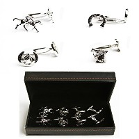 mrcuff Horse Jockey Horseshoe Bridle 4ペアCufflinks in a Presentationギフトボックス&ポリッシュクロス