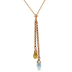 K14 Rose Gold Necklace with Blue Topaz and Citrine