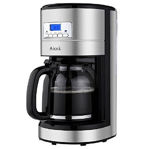 Aicok 12 Cup Coffee Maker, Drip Coffee Makers, Programmable Coffee Maker with Timer and Reusable...