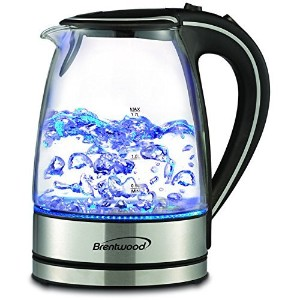Stainless Steel Glass Electric Hot Water Tea Kettle 1.7-liter with Blue LED Indicator Light by...