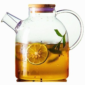 Moyishi 60oz Glass Water Pitcher with Natural Bamboo Wood Lid, Glass Water Kettle, Iced Tea Pitcher...