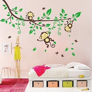 BIBITIME Jungle 3 Monkeys Playing on Tree Wall Sticker Vinyl Decal Kid Nursery Baby Decoration...