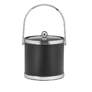Kraftware Polished Chrome Ice Bucket with Track Handle and Metal Cover, Black - 3 Quart by...