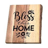 Bless This Home Bark Edgeing Acacia木製カッティングボード