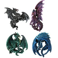 Dragon's Lair Ruth Thompson Set of 4 Collectible Sculptural Dragons Refrigerator Magnets Gift Decor...