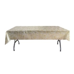 Exquisite Plastic Tablecloth 54in. x 108in. Rectangle Table Cover - Gold Lace by Exquisite