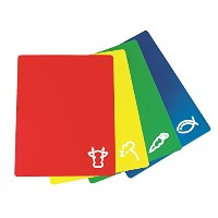 Bahoki Essential's Cutting Mat With Food Icons Flexible Material 4 Colors Red, Blue, Green, &...