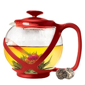 Tempered Glass 3-Cup Tea Pot w/ Removable Steel Infuser by Pride Of India (5-Cup Red Tea Pot 1182.9...