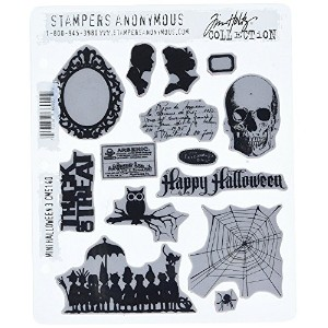 Stampers Anonymous Tim Holtz Cling Rubber Stamp Set, 7 by 8.5-Inch, Mini Halloween No.3 [並行輸入品]